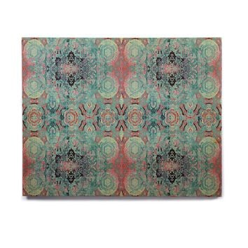 "Nina May ""Magi Mandala Stripe"" Teal Coral Abstract Ethnic Mixed Media Painting Birchwood Wall Art"