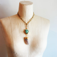 Sea Foam Druzzy and Agate Long Necklace