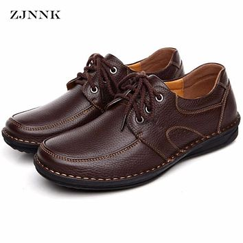 ZJNNK Genuine Leather Men's Casual Shoes Black Brown Men Flats,Hand Sewing Men Oxfords Zapatos Hombres Trendy Men Shoes