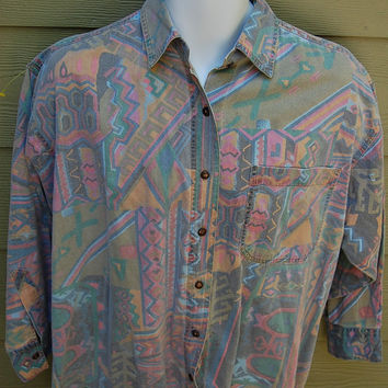 Vintage 80s Tribal Print Southwest Aztec Oversize Shirt Ladies Size 18