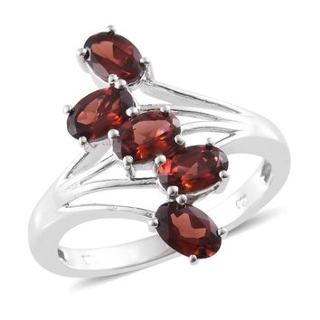 Mozambique Garnet Platinum Over Sterling Silver 5 Stone Bypass Ring