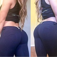 Women Push Up Tights Jeans Sports Elasticity Gym Leggings