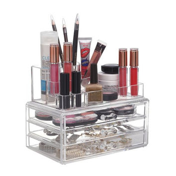Acrylic Clear Cosmetic Makeup Cosmetic Beauty Jewelry Storage Organizer with 3 Drawers Perfect Gift!