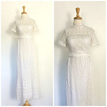 Vintage Crochet Wedding Dress - Edwardian style - Flah & Co - wedding gown - white lace - bridesmaid - tea dress - bohemian gown - XS
