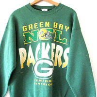 Vintage 1990s Green Bay PACKERS NFL Central Division Beat Up Sweatshirt Sz L