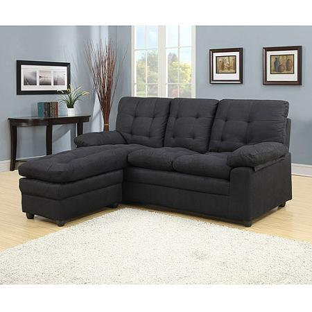 Buchannan microfiber sectioal sofa with from walmart for Black microfiber chaise