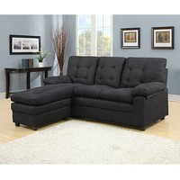Buchannan Microfiber Sectioal Sofa with Reversible Chaise Black - Walmart.com