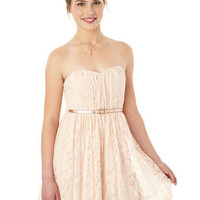 Strapless Belted Lace Dress