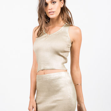 Golden Ribbed Top