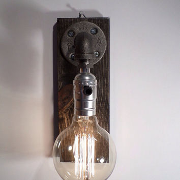 Globe style Edison Bulb Wall Sconce lamp - Weathered Gorgeously finished wood base - Steam punk style light - New york loft industrial style