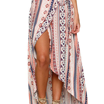 2017 New Summer Women's Sexy Ethnic Print Maxi Skirt Wrapped Beach Wear LGY42061