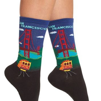 Hot Socks Golden Gate Bridge Pattern Socks (3 for $15) | Nordstrom