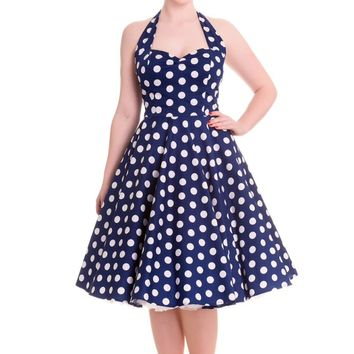 Stay fresh and girly with the Spring Potion Mariam 50's Pinup Dress by Hell Bunny. This sleeveless dress features large scale white polka dot print throughout against with navy background, sweetheart neckline with seams over bust for shaping, adjustable th