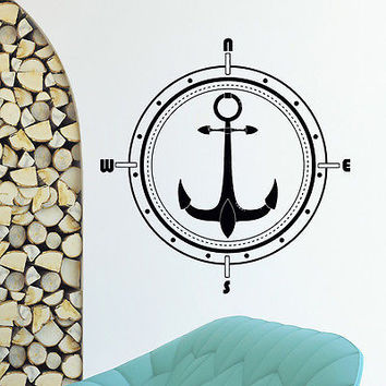 WALL DECAL VINYL STICKER WIND ROSE ANCHOR COMPASS TRAVEL GEOGRAPHY DECOR SB413