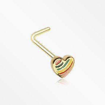 Golden Rainbow Pride Heart L-Shaped Nose Ring