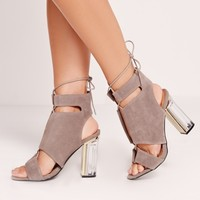 Missguided - Perspex Block Heel Lace Up Sandals Grey