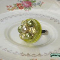 Vintage Button Adjustable Ring Chartreuse Cluster Earring Upcycle Repurpose