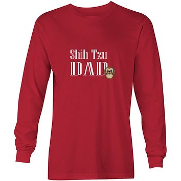 Chocolate Brown Shih Tzu Dad Long Sleeve Red Unisex Tshirt Adult Large BB5257-LS-RED-L