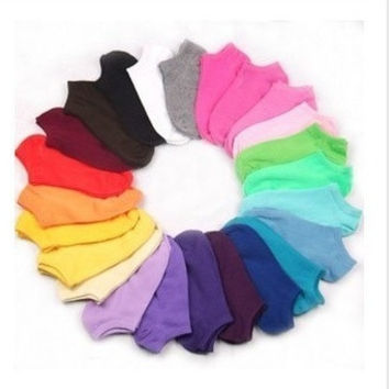 040,1 Lot =12Pairs =24Pcs C009Summer Hot Sale Women Cute Socks Slippers Boat Socks Candy Color Cotton Socks = 1958036676