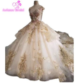 Champange and Gold Lace Prom Evening Dresses Tulle Ball Gown Cap Sleeves Beading Crystals Backless robe longue mousseline Prom