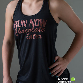 25% off RUN NOW chocolate later, Size Small Flowy Tank, 2-sided Sparkle Workout / Runner Racerback Tank, I Run For Chocolate
