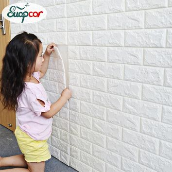 Self Adhesive 3D Foam Wallpaper For Kids Room DIY Creative Brick Wall Sticker Bedroom Home Decor Waterproof Decorative Stickers