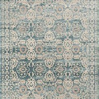 2454 Light Blue Medallion Oriental Area Rugs