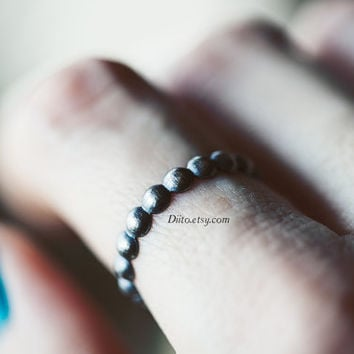 Size 7.5, Oxidized Sterling Silver Bead Ring, Handmade Jewelry, Simple Rings, Ready To Ship!
