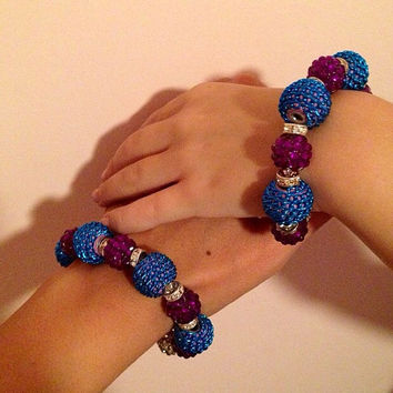 Large Beads Bracelet, Mommy And Me Bracelets, Childrens Bracelet, Womens Bracelet, Handmade Bracelet, Purple Bracelet, Blue Bracelet