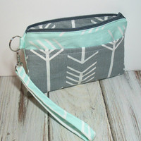Mint Clutch Wristlet - Mint Arrows - Gray and Mint - Gray Arrow Clutch - Wristlet - Mint Zipper Bag - iPhone Clutch - Mint Phone Clutch