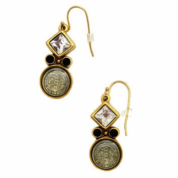 Virgin Saints and Angels San Benito Earrings - Clear and Jet Swarovski Crystals
