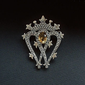 SCOTTISH Luckenbooth Sterling Crown HEART Brooch WEDDING Gift Double Hearts Love Token Queen Mary Vintage Gemstone Celtic Jewelry Hallmarks