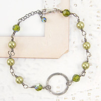 Green Pearl Bracelet with Sterling Silver
