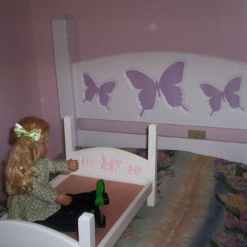 Handcrafted child single bed headboard and American Girl doll size bed  doll furniture