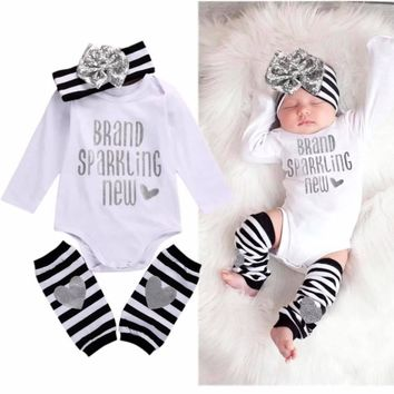 Baby Girls Romper Set with leg warmers and striped headband