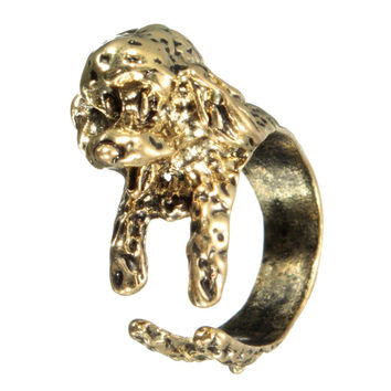 Vintage French Bulldog Wrap Finger Ring