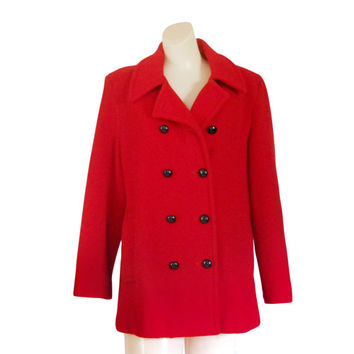 Red Wool Coat Women Wool Coat Wool Winter Coat Women Winter Coat Peacoat LL Bean Ladies Winter Coat Double Breasted Coat Women Outerwear
