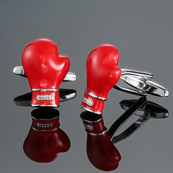 DY The new high-quality entertainment sports red boxing gloves Cufflinks fashion Men's French shirt Cufflinks free shipping