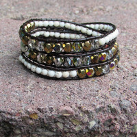 beaded leather wrap bracelet - amber mix and white howlite stones - button
