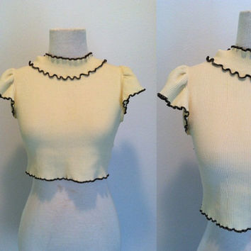 Vintage 1960s Crop Blouse / Doll Rags / Beige Cropped Short Sleeve Blouse / Midriff Top
