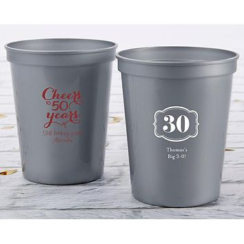 Personalized 16 oz. Stadium Cup - Milestone Birthday