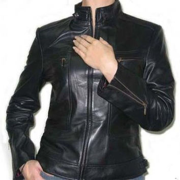 women classic biker style pure leather jacket handmade with quality leather, women,s biker leather jacket