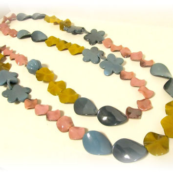 Extra Long Shimmer Bead Necklace in Pastels - Rose Pink, Yellow, Blue - Spring, Summer, Statement Necklace