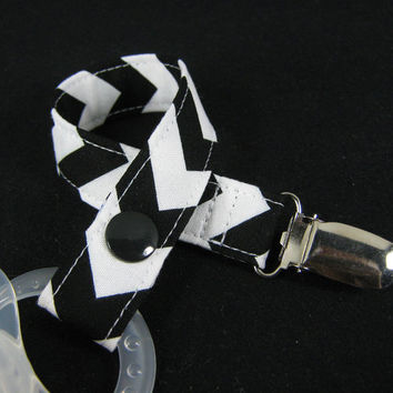 Chevron Pacifier Clip - Your choice of chevron fabrics