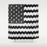 Black Zig Zag Flag Shower Curtain by Nick Nelson | Society6