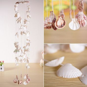 Garden Outdoor Decor Wind Chime Bell Natural Shell Wind Chime Hanging Decoration Seashell Windbell Craft Ornaments Wedding Gift
