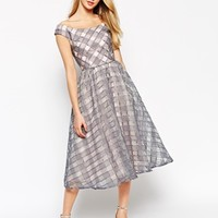 Little Mistress Debutante Midi Dress In Gingham Organza With Bardot Neck at asos.com