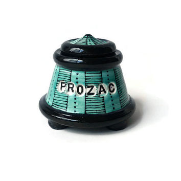 Turquoise  and Black Jar with Feet  -PROZAC