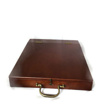 Vintage Cherry Wood Bombay Company Lap Desk with Brass Hinges - Letter Box Writing Accessory Writers Secretary Desk - Organizer Stationary
