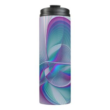 Colorful Modern Pink Blue Turquoise Fractal Art Thermal Tumbler